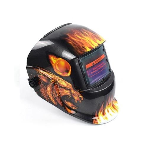 True Color Welding Helmet Auto Darkening Welding Mask Solar Powered Weld Hood Flaming Skull Style for TIG MIG ARC