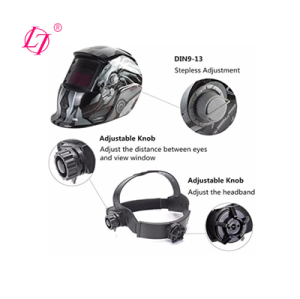 Welding Helmet Solar Powered Auto Darkening Hood with Adjustable Shade Range 4/9-13 for Mig Tig Arc Welder Mask (fire skeleton)