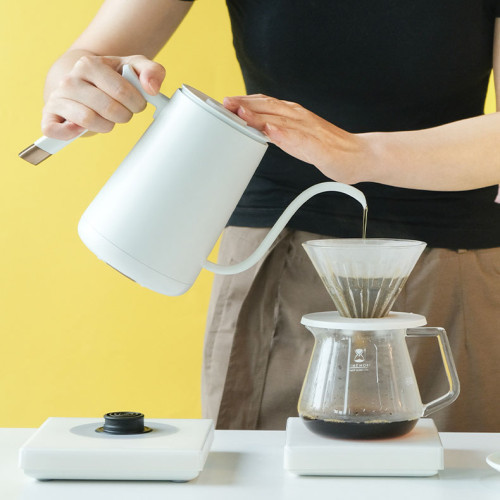 Factory Direct Sale Coffee Kettle Gooseneck Stainless Steel Wooden Handle Tea coffee Drip Over Coffee Kettle