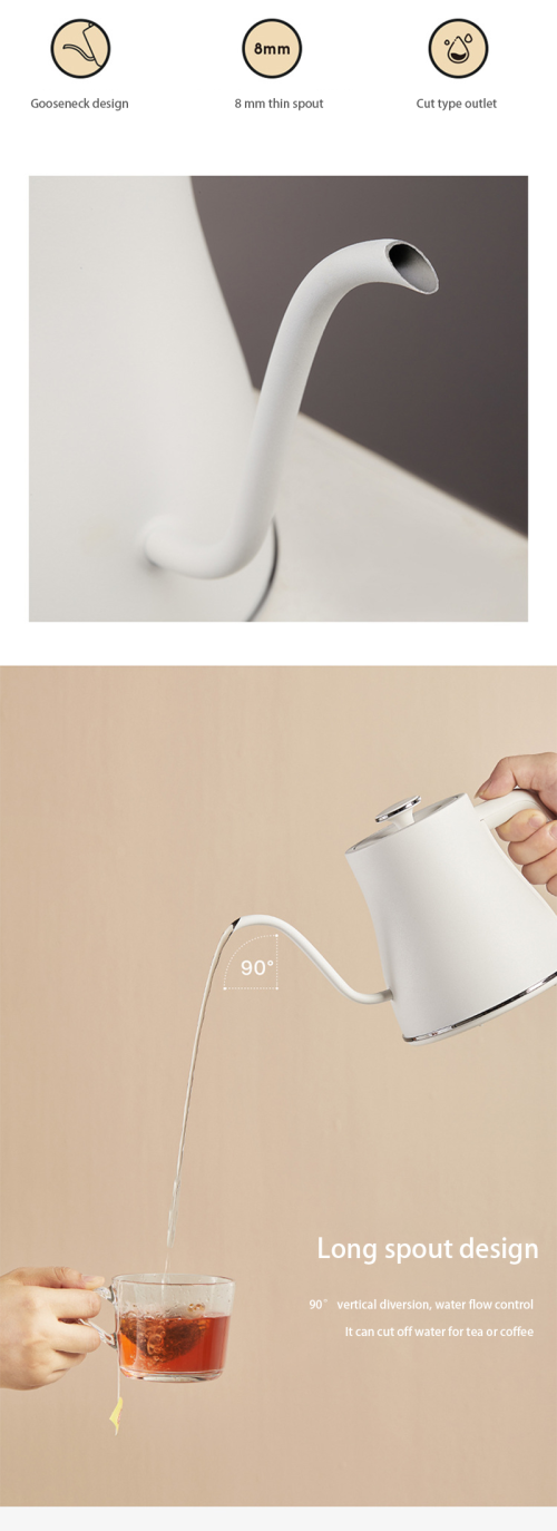 surface spray treatment stainless steel gooseneck electronic coffee kettle