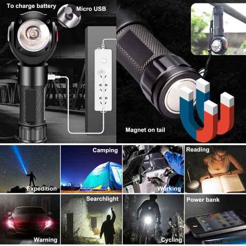 Rotatable head and super-brightness aluminium alloy LED flashlight for camping