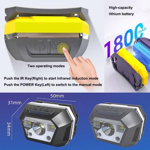 Smart LED sensor headlight for mountain climbing, night fishing and camping