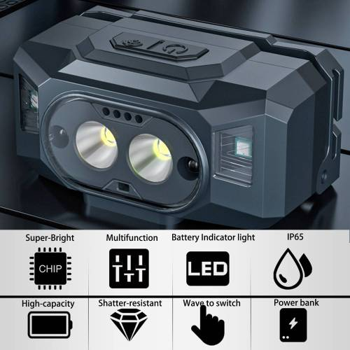 Multifunction LED Sense Head Lamp for Mountaineering,Night fishing & Camping