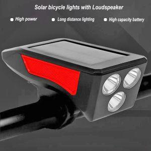 Luces de bicicleta LED solares de alta potencia y alto brillo con altavoz para una amplia gama de usos