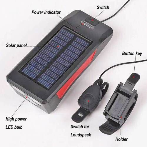 High Power & High brightness solar LED bicycle lights with loudspeaker for a wide range of uses