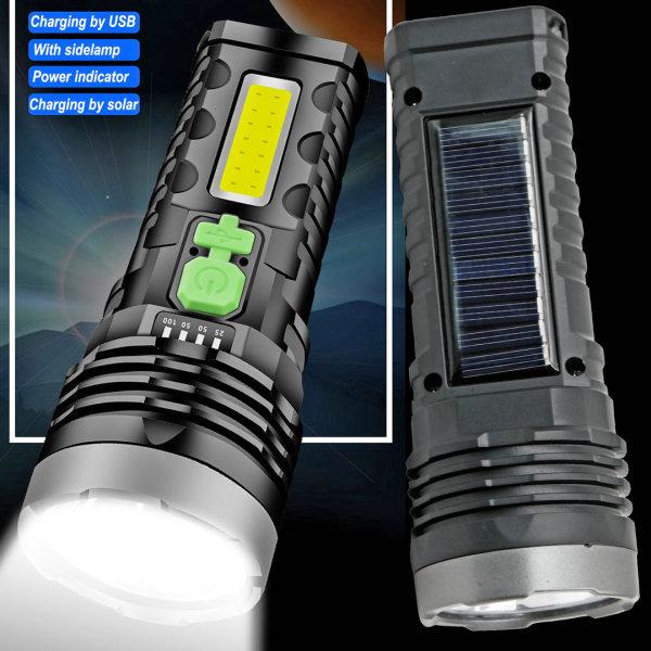 La linterna LED de plástico inteligente de alta calidad, alimentada por energía solar, es un buen asistente en su vida.