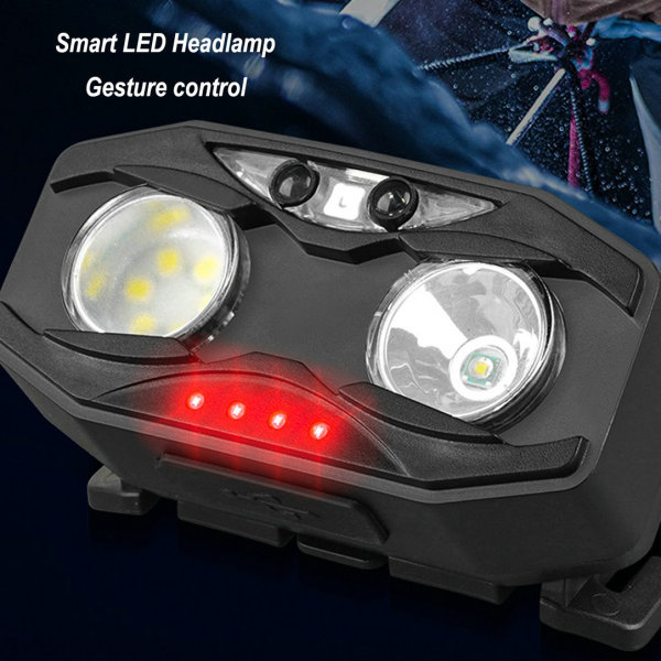 La lámpara de cabeza LED multifunción, con sensor, mano agitada para cambiar, es adecuada para todo tipo de actividades al aire libre