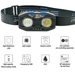 Multifunction LED Head Lamp,with sensor, wave hand to switch,is suitable for all kinds of outdoor activities