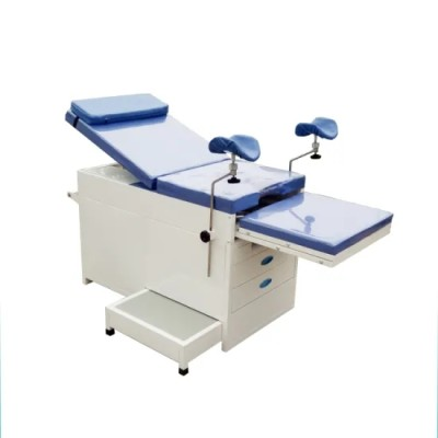 Mechanical Hospital Gynecological Examination Table with Drawers