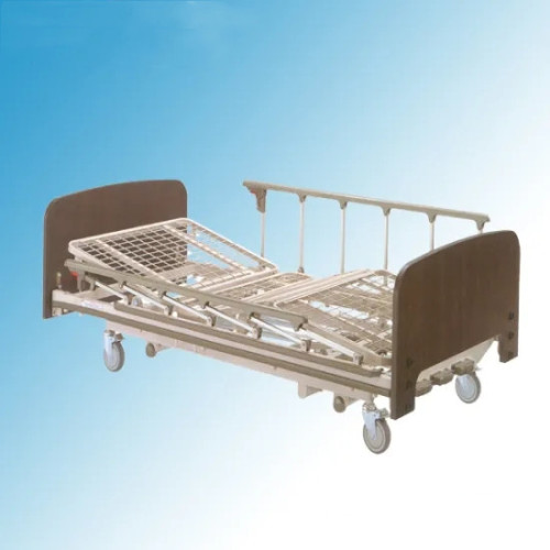 Three Cranks Mesh Type Wood Manual Patient Healthcare Bed (A-14)