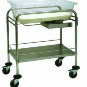 Steel Painted Double Columns Baby Crib, Hospital Infant Bed