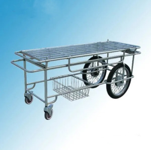 Stainless Steel Patient Transfer Trolley with Motorcycle Wheels (G-4)
