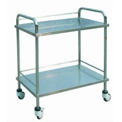 Two Shelves Stainless Steel Hospital Instrument Trolley (Q-14)