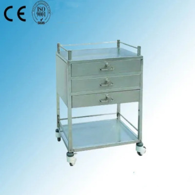 Stainless Steel Hospital Medicine Trolley (Q-16)