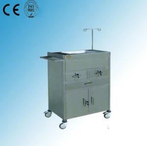 Stainless Steel Hospital Medical Resuscitation Trolley/ Cart (Q-21)