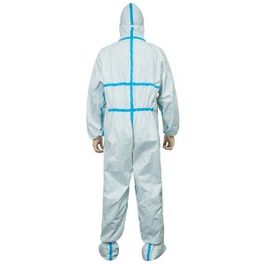 Factory Price Sms White Non Woven Coverall Medical Protective Clothing Suit