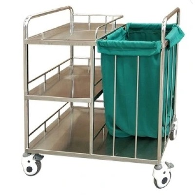 Stainless Steel Hospital Cleaning Trolley for Waste Collection