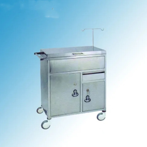 Stainless Steel Hospital Medical Resuscitation Trolley/ Cart (Q-24)