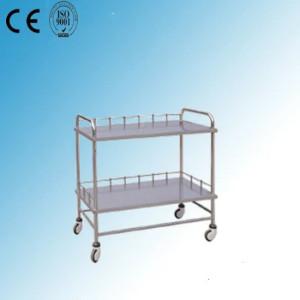 Two Shelves Stainless Steel Medical Instrument Cart (J-1)
