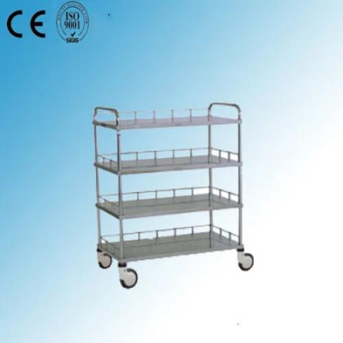 Stainless Steel Four Shelves Hospital Medical Instrument Trolley (J-23)