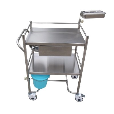 Stainless Steel Dressing Trolley with Two Layers