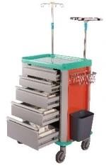 Steel Painted Hospital Medical Emergency Trolley (N-8)