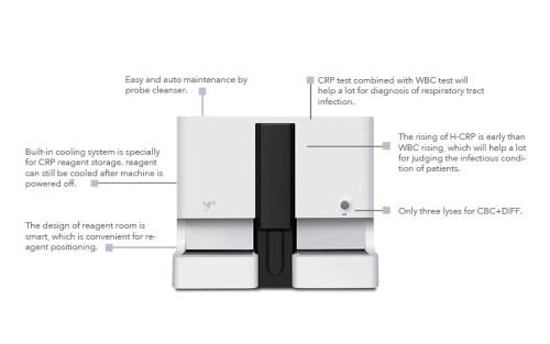 Medical Crp Measurement 90 Samples/Hr Fully Auto 5 Part Hematology Analyzer