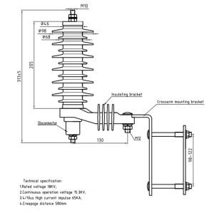 18KV polymer housing export metal oxide surge arrester