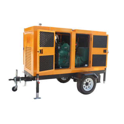 Factory direct sale cheap price 125kva silent type diesel generator set with mobile trailer