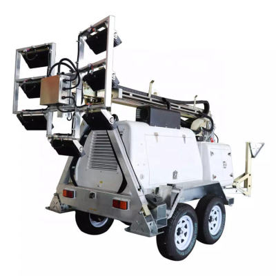 12KP LED Series Mining Site Trailer Mounted Hydraulic diesel light tower