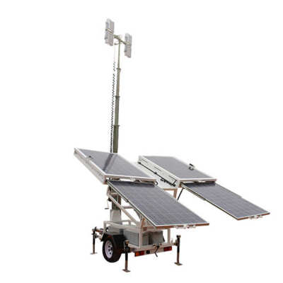Work site led flood light portable vehicle mounted solar generated mobile solar light tower