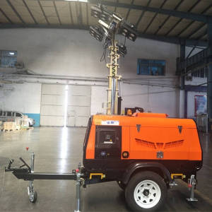 4HVP1600 Trailer Mounted Hydraulic Mast LED Mobile Light Tower for construction or mining