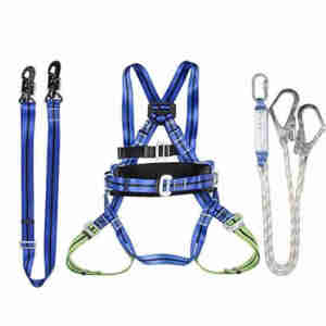 Adjustable protection full body safety harness belt with lanyard shock absorbers