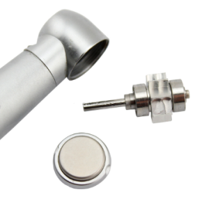 Optical fiber handpiece with sufficient LED light three way spray promotion