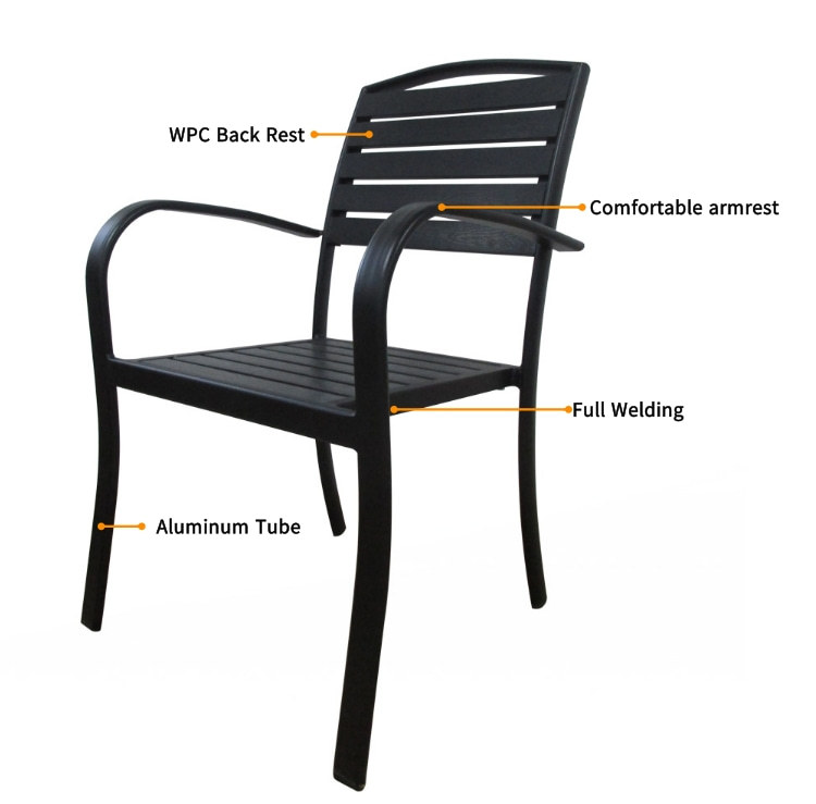 Wholesale WPC Garden Furniture Outdoor Set with  4 Chairs and 1 Table (HW018-1)