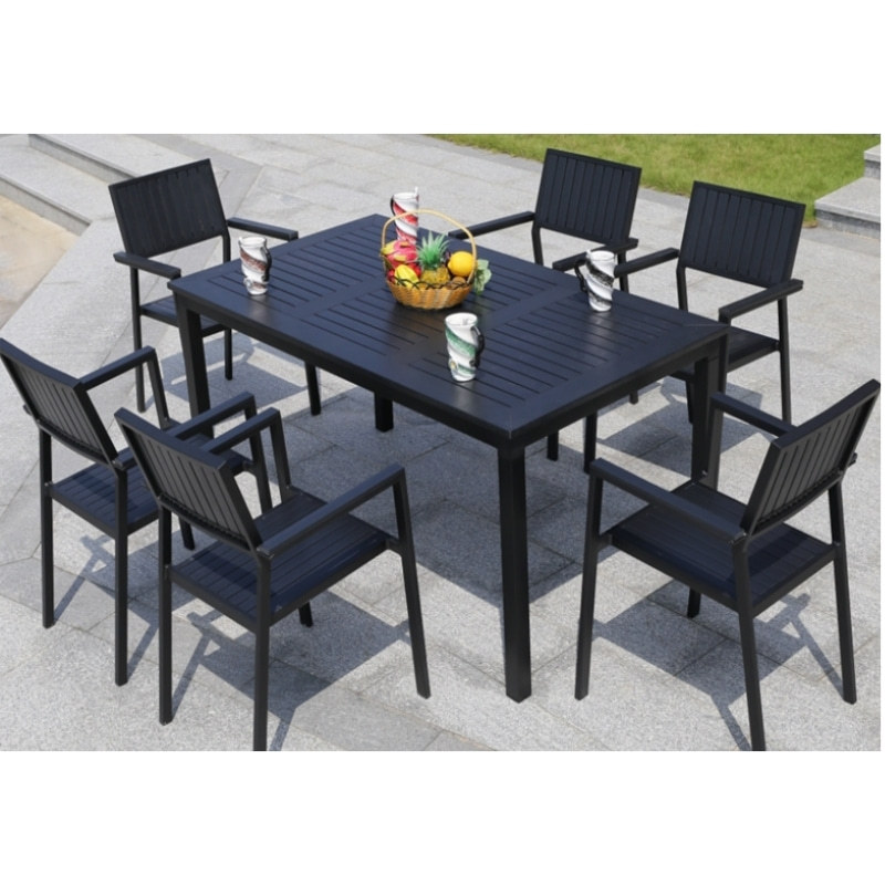 Wholesale WPC Garden Furniture Outdoor Set with  6 Chairs and 1 Table (YF-SMC209 YF-SMT224)