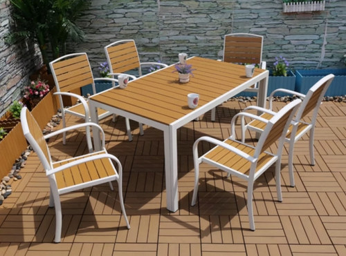 Wholesale WPC Garden Furniture Patio Dining Set with 6 Chairs and 1 Table (YF-SMC208 YF-SMT223)