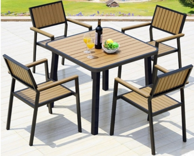 Wholesale WPC Garden Furniture Outdoor Set with  4 Chairs and 1 Table (YF-SMC216 YF-SMT221)