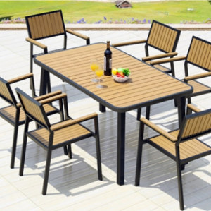 Wholesale WPC Garden Furniture Outdoor Set with  6 Chairs and 1 Table (YF-SMC216 YF-SMT222)