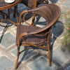 Wholesale Patio Square Glass Top Dining Set With 1 table and 4 Rattan Bamboo Chairs(YF-BT417)