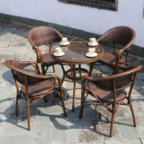 Wholesale Rattan Patio Furniture Sets with 4 Chairs and 1 Table (YF-BT411 YF-BT418)