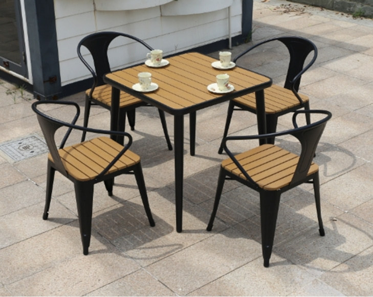 Wholesale Morden Outdoor Square WPC Garden Sets with 1 table and 4 Chairs (YF-SMC210 YF-SMT219)