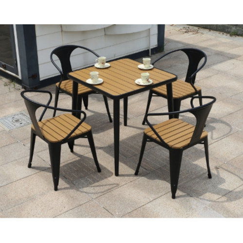 Wholesale Morden Outdoor Square WPC Garden Set with 1 table and 4 Chairs (YF-SMC210 YF-SMT219)