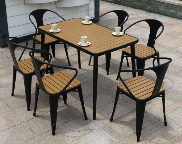 Wholesale Morden Outdoor Rectangle WPC Garden Sets with 1 table and 4 Chairs (YF-SMC210 YF-SMT218)
