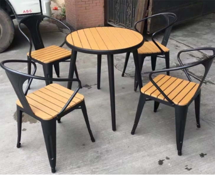 Wholesale Morden Outdoor Round WPC Garden Sets with 1 table and 4 Chairs (YF-SMC210 YF-SMT220)