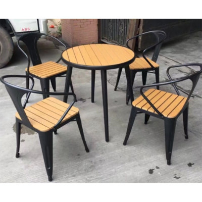 Wholesale Morden Outdoor Round WPC Garden Set with 1 table and 4 Chairs (YF-SMC210 YF-SMT220)