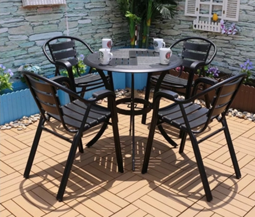 Wholesale Morden Outdoor Round WPC Garden Sets with 1 table and 4 Chairs (YF-SMC215 YF-SMT217)
