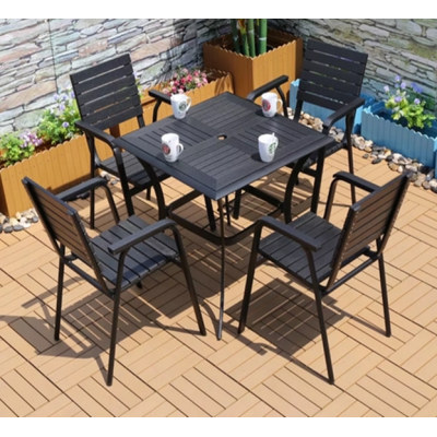 Wholesale Morden Outdoor Square WPC Garden Dining Sets with 1 table and 4 chairs (YF-SMC214 YF-SMT216)