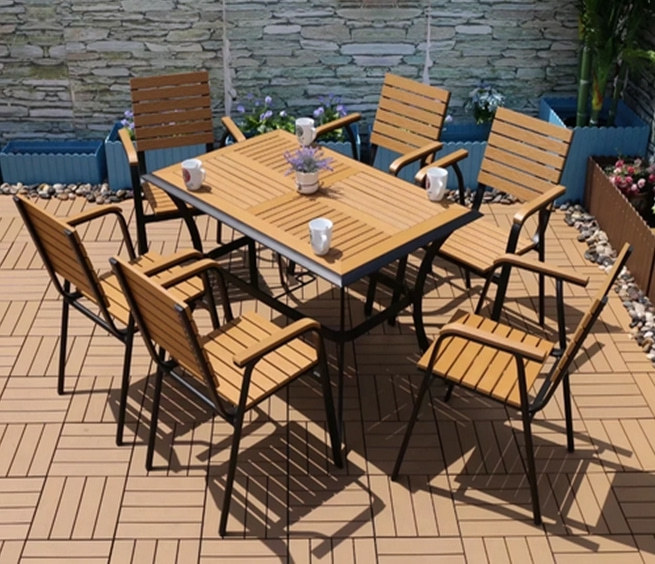 Wholesale Morden Outdoor Rectangle WPC Garden Sets with 1 table and 4 Chairs (YF-SMC213 YF-SMT215)