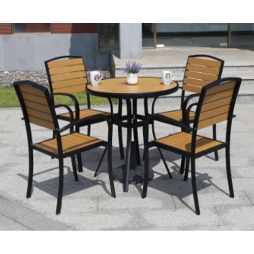 Wholesale Morden Outdoor Round WPC Garden Sets with 1 table and 4 Chairs (YF-SMC212 YF-SMT214)
